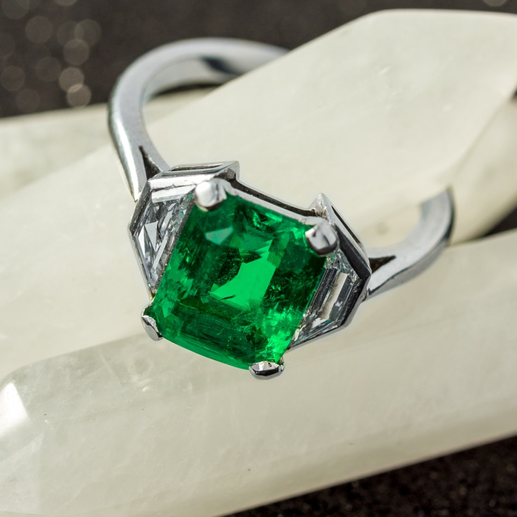 Platinum, Emerald and Diamond Ring - Image #2