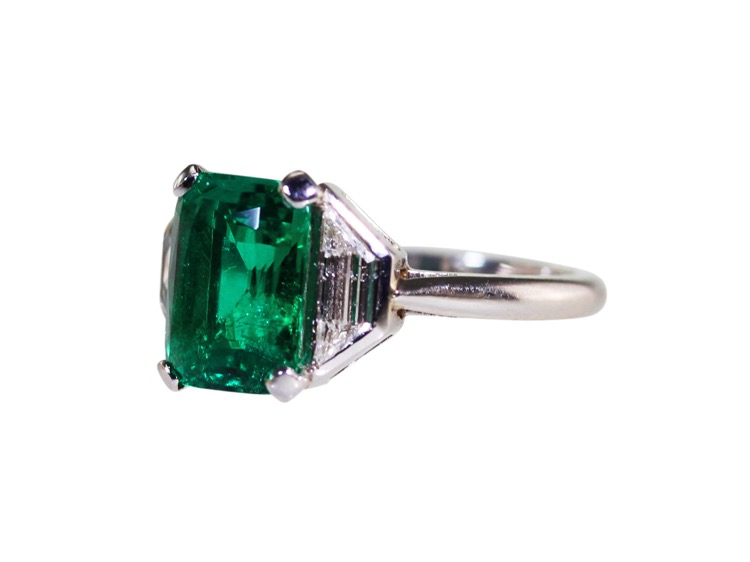 Platinum, Emerald and Diamond Ring - Image #4
