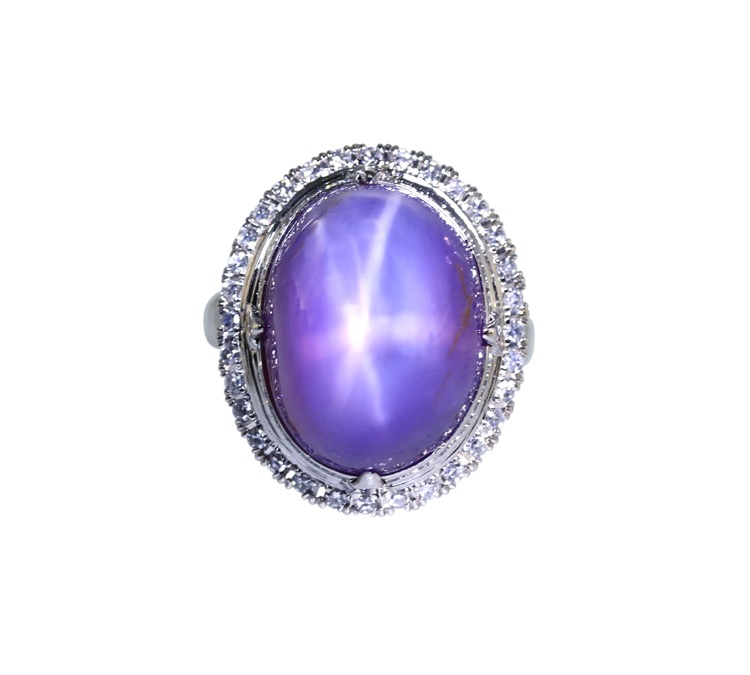 Platinum, Purple Star Sapphire and Diamond Ring, circa 1940s