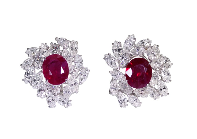 Pair of Platinum, Ruby and Diamond Earclips