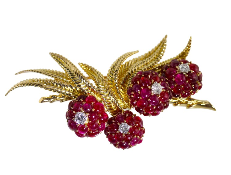 18 Karat Gold, Ruby and Diamond Brooch, France, circa 1950