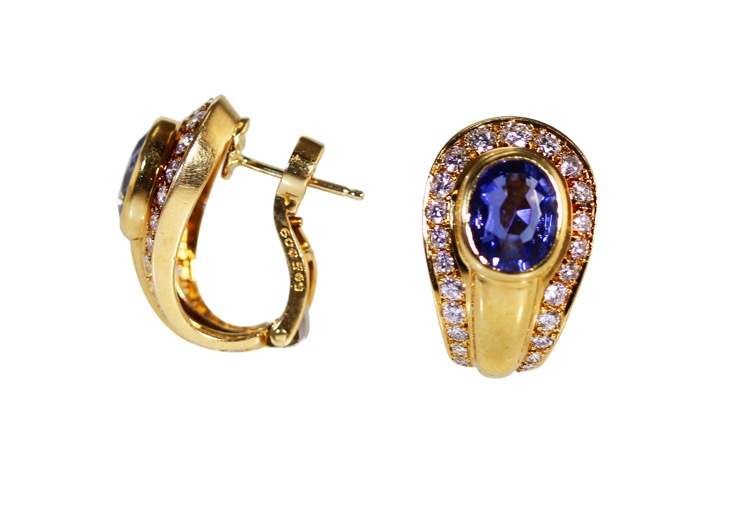 Pair of 18 Karat Gold, Sapphire and Diamond Earclips by Cartier, France