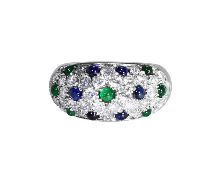 18 Karat White Gold, Emerald, Sapphire and Diamond Ring by Cartier