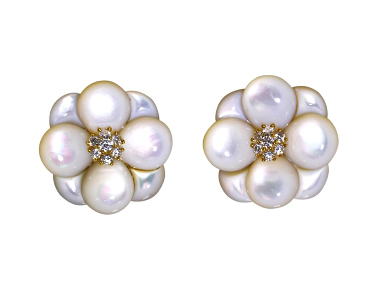 Pair of 18 Karat Gold, Mother-of-Pearl and Diamond Earclips by Van Cleef & Arpels