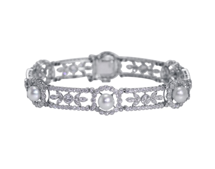 Belle Epoque Platinum, Natural Pearl and Diamond Bracelet, France