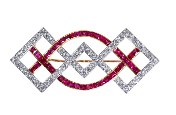 Art Deco Platinum, 18 Karat Gold, Ruby and Diamond Brooch by Cartier, Paris