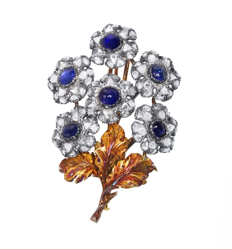 18 Karat Gold, Silver, Sapphire and Diamond Flower Brooch by Mario Buccellati, Italy, circa 1935