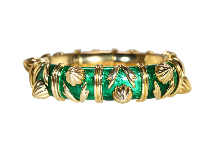 18 Karat Gold and Green Enamel Bracelet by Schlumberger for Tiffany & Co.
