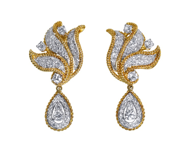 Pair of 18 Karat Gold and Diamond Day/Night Earclips