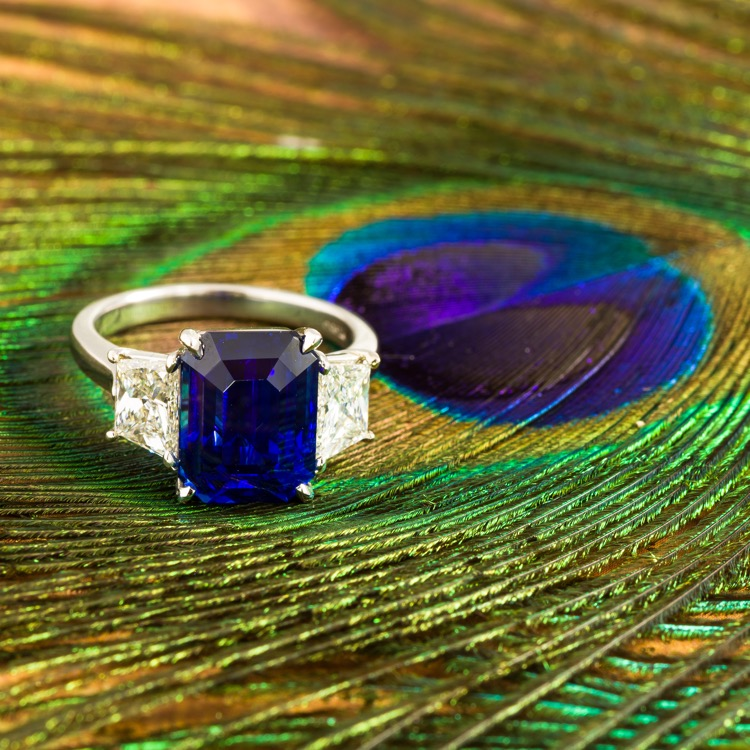 Platinum, Sapphire and Diamond Ring by A. Aletto