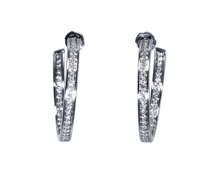Pair of 18 Karat White Gold and Diamond Hoop Earrings by Cartier, Paris