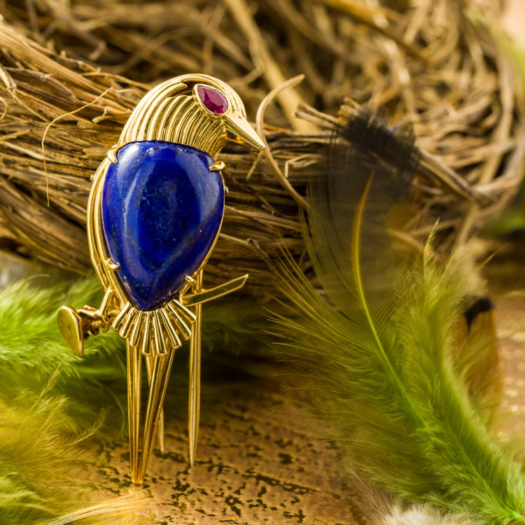 18 Karat Gold, Lapis Lazuli and Ruby Brooch by Cartier, Paris, circa 1970