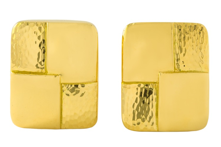 Pair of 18 Karat Gold Earclips by Andrew Clunn