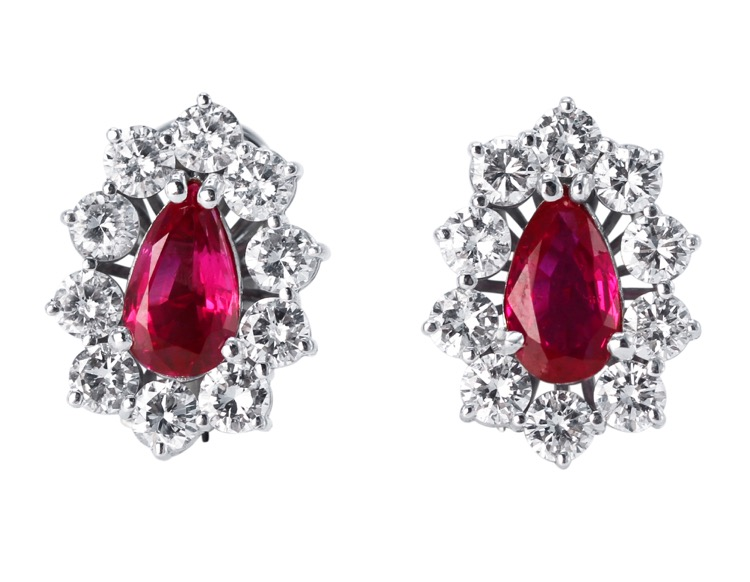Earrings Pair Of Platinum Ruby And Diamond Earclips 4381