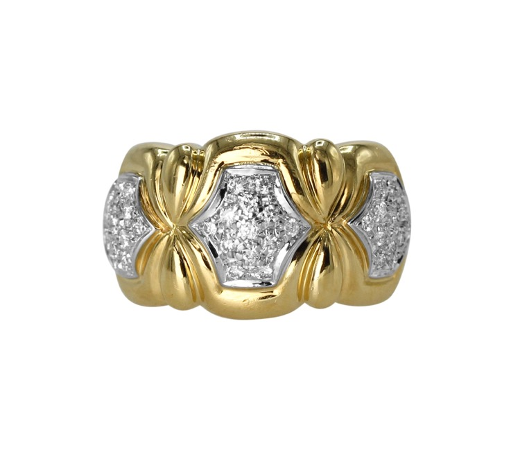 18 Karat Two-Tone Gold and Diamond Ring