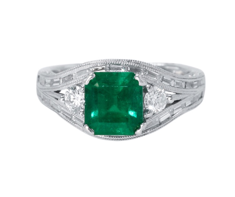18 Karat White Gold, Emerald and Diamond Ring