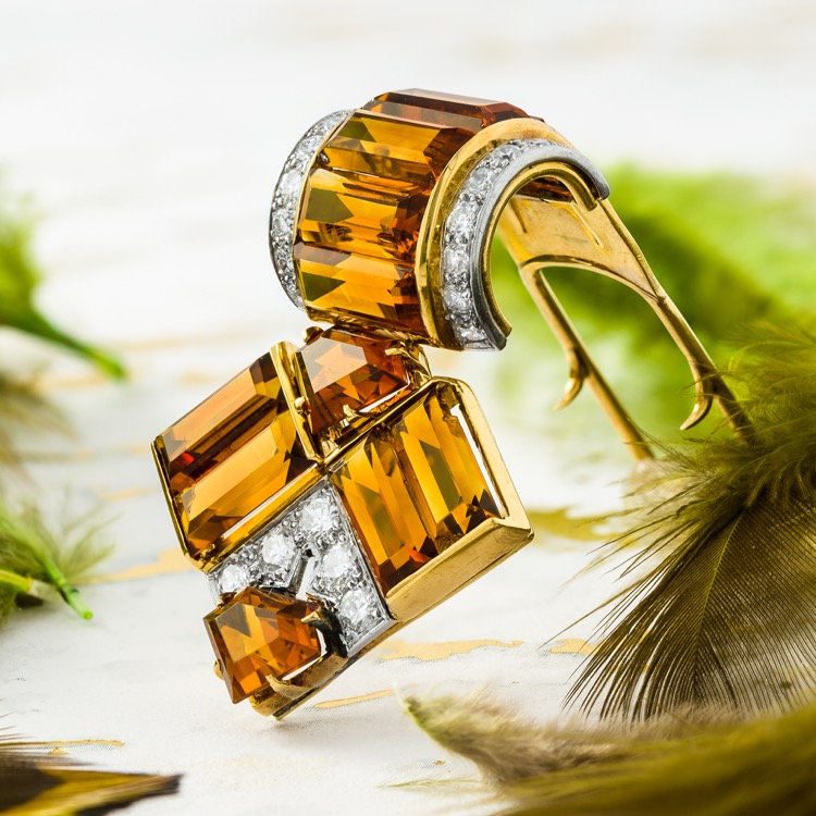 Cartier Citrine and Diamond Dress Clip, 18 Karat Yellow Gold and Platinum