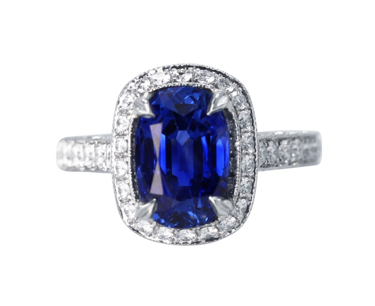 Platinum, Sapphire and Diamond Ring by Jack Kelége