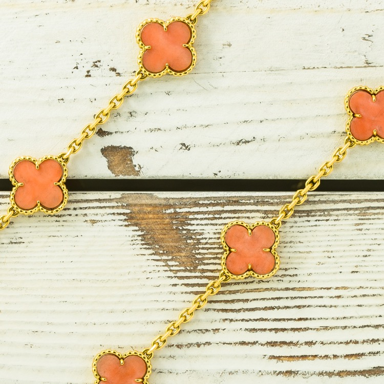 18 Karat Yellow Gold Coral Alhambra Necklace by Van Cleef & Arpels, 1974 - Image #2