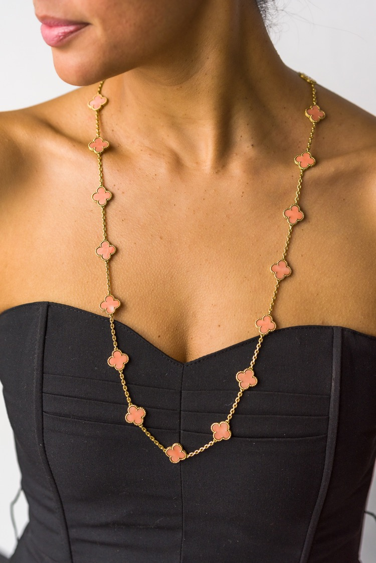 18 Karat Yellow Gold Coral Alhambra Necklace by Van Cleef & Arpels, 1974 - Image #3