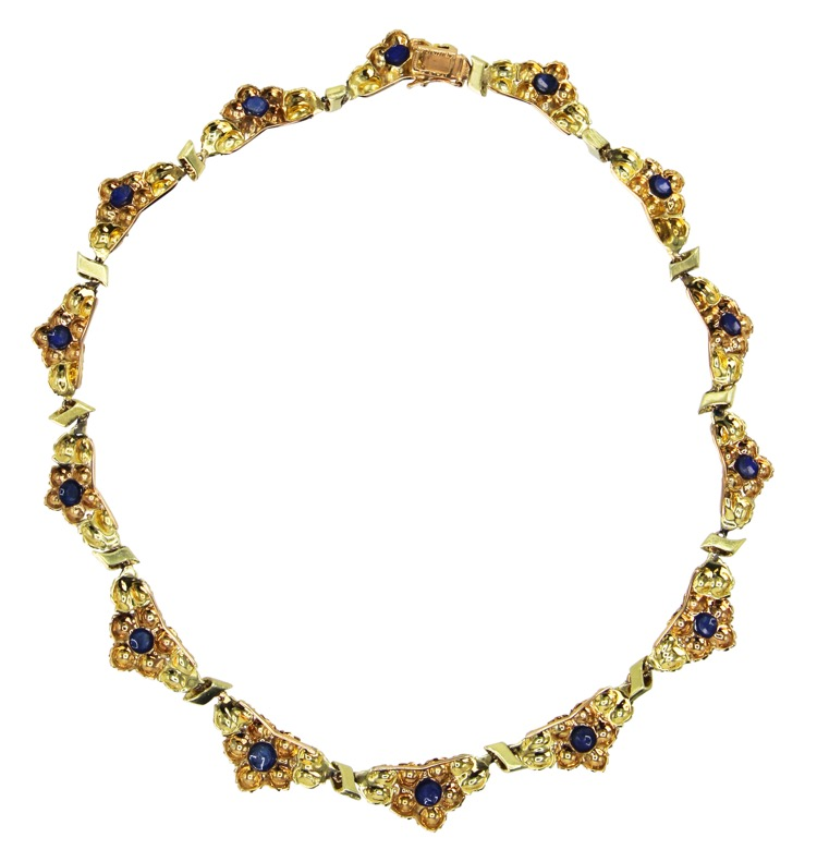 18 Karat Two-Tone Gold and Sapphire Necklace by Buccellati, Italy, circa 1960 - Image #2