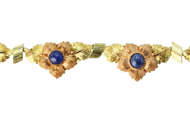 18 Karat Two-Tone Gold and Sapphire Necklace by Buccellati, Italy, circa 1960 - Image #3