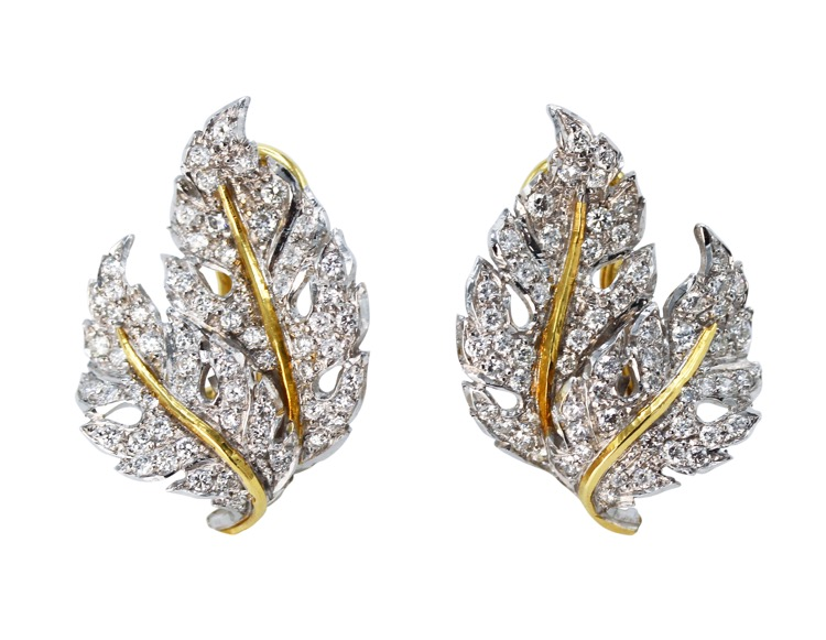 Pair of 18 Karat Two-Tone Gold and Diamond Earclips by Buccellati, Italy