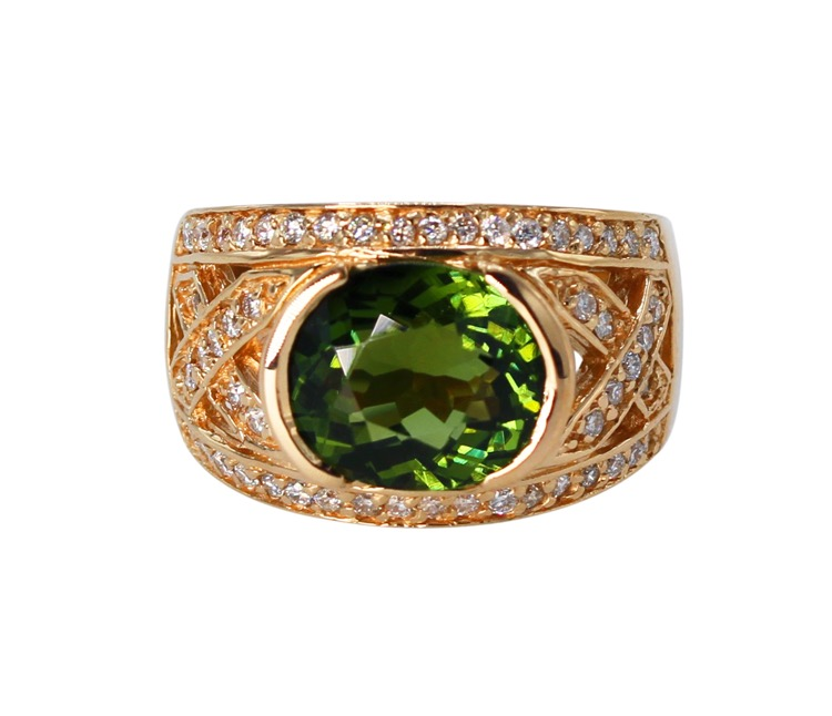 18 Karat Rose Gold, Green Tourmaline and Diamond Ring