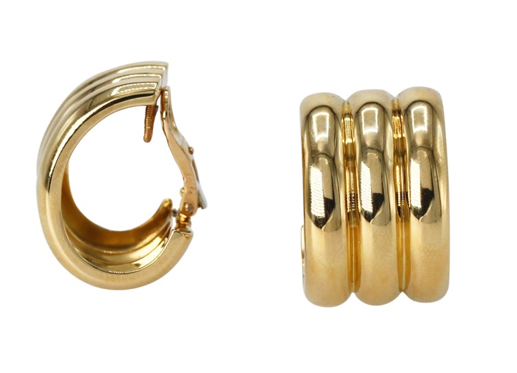 Pair of 18 Karat Yellow Gold Hoop Earclips by Cartier, France - Image #2