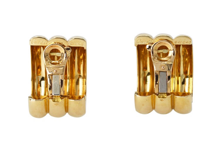 Pair of 18 Karat Yellow Gold Hoop Earclips by Cartier, France - Image #3