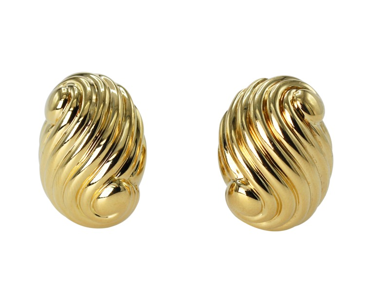 Pair of 18 Karat Gold Earclips by David Webb - Image #1