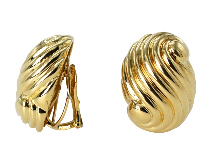 Pair of 18 Karat Gold Earclips by David Webb - Image #2