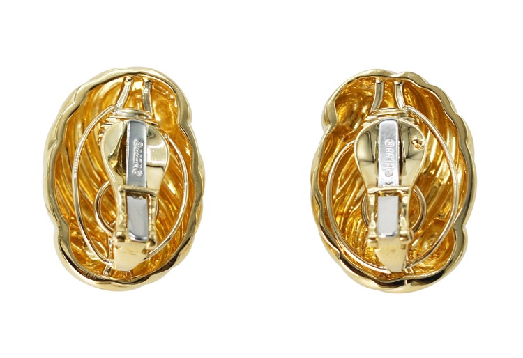 Pair of 18 Karat Gold Earclips by David Webb - Image #3