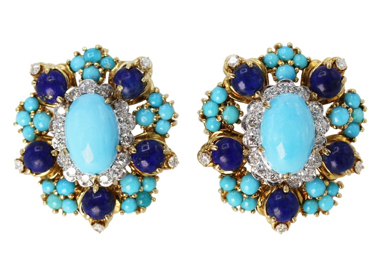 Pair o f18 Karat Gold, Turquoise, Lapis Lazuli and Diamond Earclips by Cartier