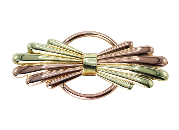 Retro 14 Karat Pink and Green Gold Brooch by Cartier, circa 1940