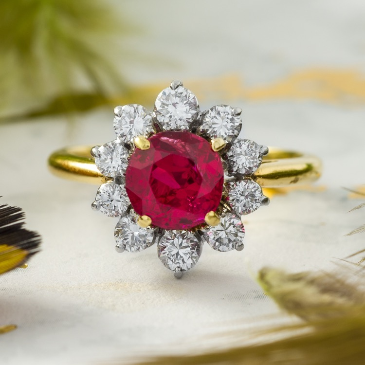 18 Karat Gold and Platinum No Heat Burma Ruby and Diamond Ring