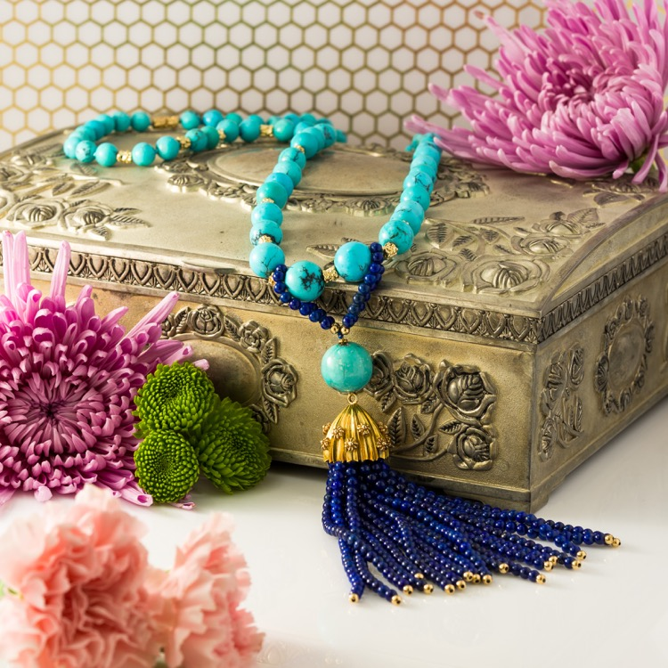 18 Karat Gold, Turquoise and Lapis Bead Tassel Necklace