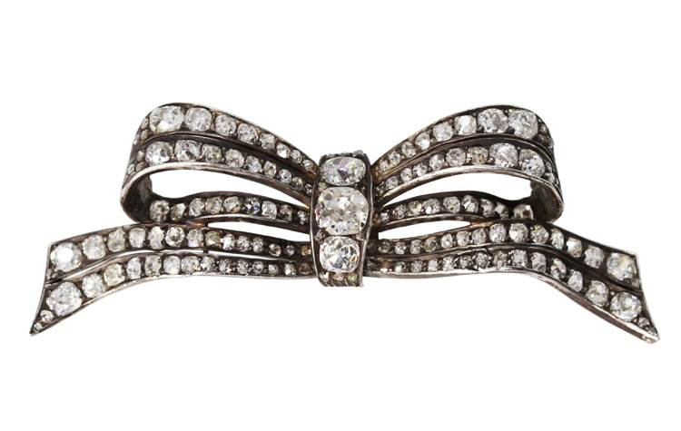 Antique Gold and Silver Diamond Bow Brooch