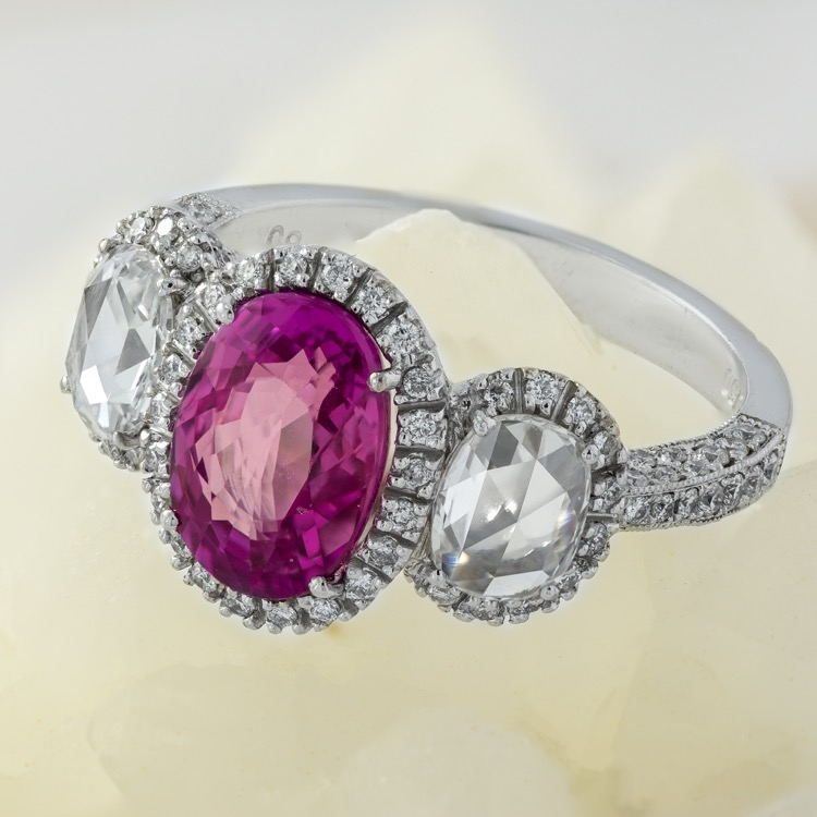 18 Karat White Gold, Pink Sapphire and Diamond Ring - Image #2