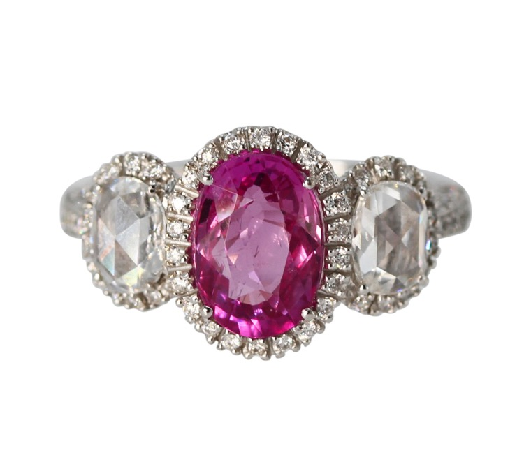 18 Karat White Gold, Pink Sapphire and Diamond Ring - Image #4