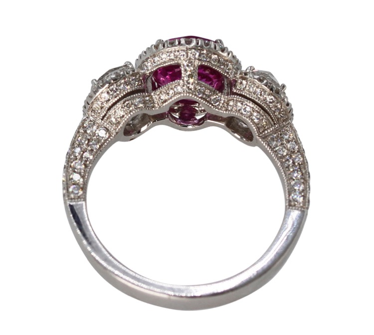 18 Karat White Gold, Pink Sapphire and Diamond Ring - Image #5
