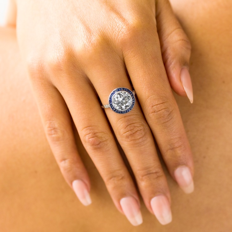 Platinum, Diamond and Sapphire Ring - Image #3