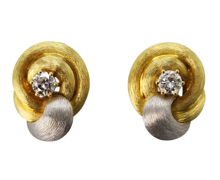 18 Karat Yellow Gold, Platinum and Diamond Earclips by Henry Dunay