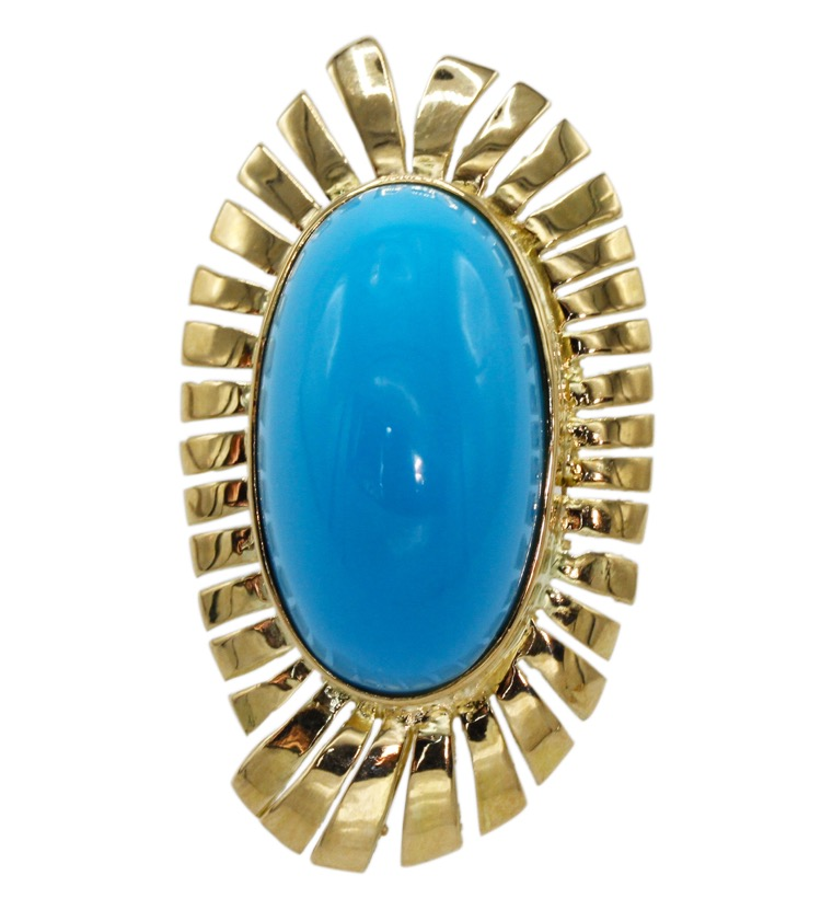 18 Karat Yellow Gold and Turquoise Ring