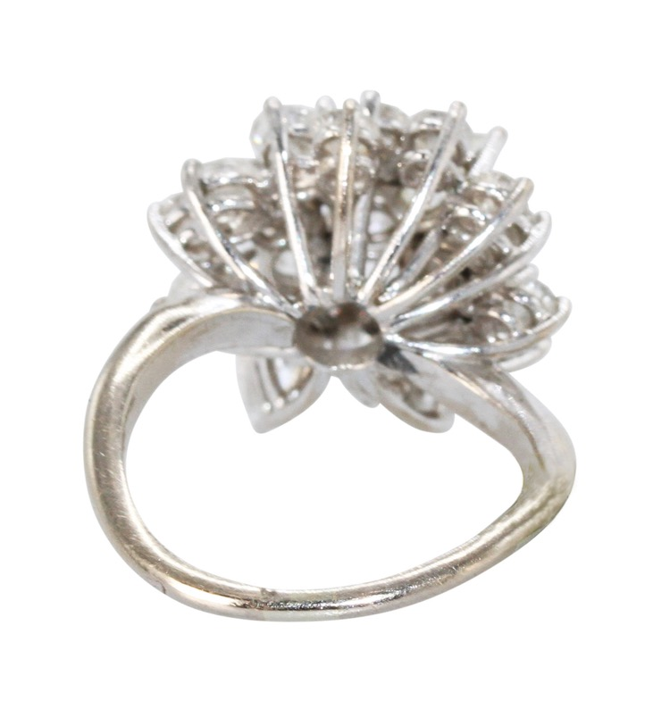 18 Karat White Gold and Diamond Cocktail Ring, French - Image #3