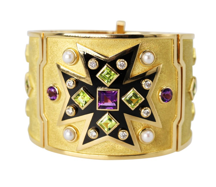 18 Karat Gold and Multi Gem Maltese Cross Bracelet by Verdura, Italy