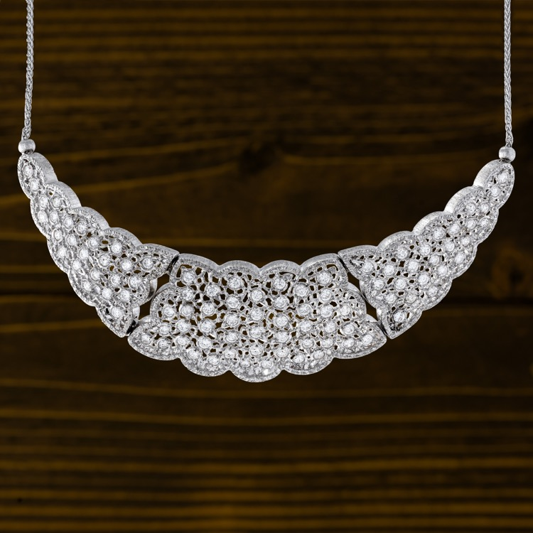Buccellati Diamond Necklace, 18 Karat White Gold, Italy