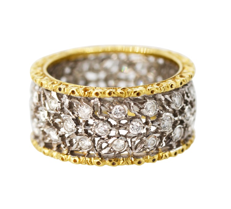 18 Karat Two-Tone Gold and Diamond  3 File Fogliette Ring by Buccellati, Italy