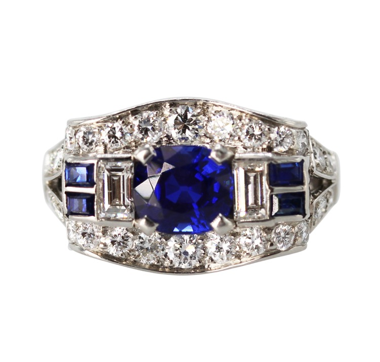 Platinum, Kashmir Sapphire and Diamond Ring by Tiffany & Co., circa 1930s