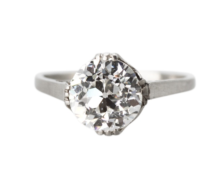Antique Platinum and Diamond Ring - Image #4